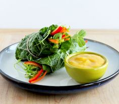 Raw salad rolls with spicy mango dipping sauce!