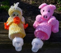 Priscilla Pig Baby Bottle Cover - Crochet    absolutelykathy.blogspot.co...