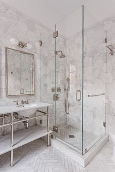 large floor tiles bathroom shower with white herringbone floor tiles view full size large format bathroom floor tiles Marble Bathroom Floor, White Marble Bathrooms, Marble Showers, Bathroom Flooring, Master Bathroom, Marble Tiles, Hexagon Tiles, Glass Showers, Marble Tile Shower