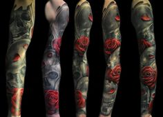 Sleeve tattoo with skulls and roses