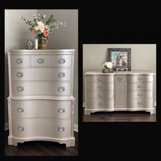 Home Furniture Projects Funky Furniture, Metallic Painted Furniture, Decor, Rustic Furniture, Painted Bedroom Furniture, Redo Furniture, Silver Furniture, White Furniture Living Room, Furniture Design