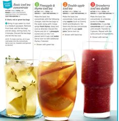 Recipes for Flavored Teas Refreshing Drinks, Yummy Drinks, Healthy Drinks, Smoothie Popsicles, Smoothies, Fruit Drinks, Beverages, Tea Drinks, Thyme Tea