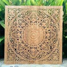 Natural Carved Wood Wall Art Panel. Bed Headboard. Reclaim Teak Wall Plaque. Decorated Wall Hanging. Moroccan Design. (5'X5' Ft. Natural)