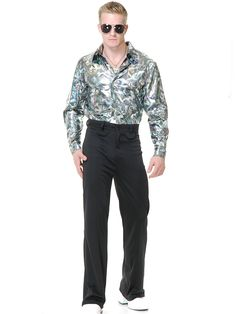 Silver Disco Shirt Costume | Mens 70s Halloween Costumes