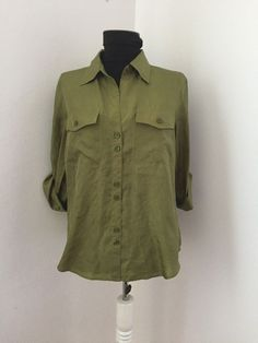 STEFANEL green silk shirt Sz L women M over size soft fine airy blouse top Thrifting, Size 16, Military Jacket, Gowns, Silk, Blouse, Green, Jackets, Shirts