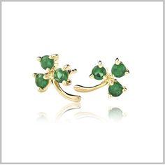 Green and Gold Shamrock Earrings