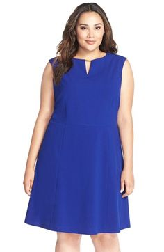 Tahari Hardware Detail Sleeveless Fit & Flare Dress (Plus Size)