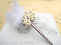 Wedding Guest book pen - Gatsby Wedding - Cottage Chic Wedding - Cream Blue Pink Red Mulberry Paper Roses Wedding Guestbook Pen on Etsy, $16.25
