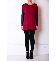 Loose crimson red pullover jumper with black leather sleeves arzu