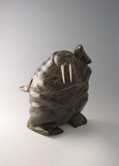 """Inuit, Walrus, Soapstone, Nuna Parr, 15.5 x 11.10"""""""