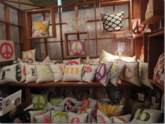 Welcoming display of pillows!