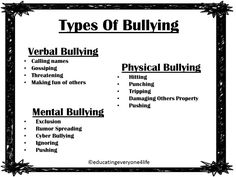 Bullies come in different shapes and sizes. What really separates them from other bullies is how they pick on the victim. Whether its verbal, physical, or mental, bullies use the best type of bullying to use on the victim they are picking on. Anti Bullying Activities, Counseling Activities, Anti Bullying Lessons, Bullying Prevention, School Social Work, Character Education, School Counselor, Ms Gs, Social Skills
