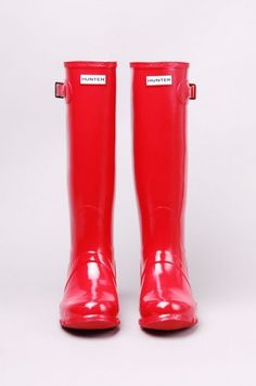 AKIRA Hunter Original Gloss Tall Rain Boot in Pillar Box Red