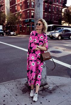The weather doesn't lie—it's officially time to start dressing for summer. Here are 50 foolproof summer street-style outfit ideas to last you through fall, guaranteed to get you out of the inevitable denim-cutoff rut. Street Style 2016, Looks Street Style, Mode Outfits, Fashion Outfits, Womens Fashion, Fashion Boots, Marimekko Dress, Summer Outfits, Summer Dresses