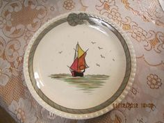 Blue Ridge Southern Potteries Very RARE Hand Painted Sailboat Plate | eBay