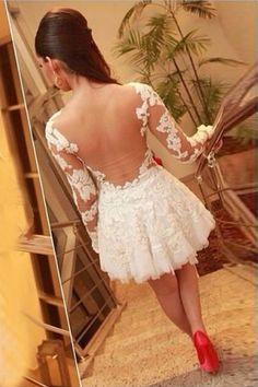Beautiful Long Sleeve Lace Mesh Design White Mini Dress
