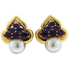 Vasari Large Amethyst Pearl Gold Earrings