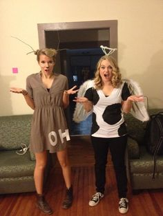 "These two costumes took common sayings and brought them to life. It's as effortless as adding ""oh"" to your deer costume or putting a cow and angel costume together. Source: Reddit user Hungryhufflepuffs"