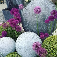Balls! Big, small, metal, green and purple. Inspiration for garden style from Chelsea Flower Show! ❤️  @cartoffelrune   @pithandvigor