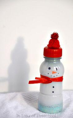 snowman calm down bottle #hushbottle #calmdownjar #calmdownbottle #calming #calm #timer #kids #preschool #toddler #snowmen #winter #Christmas #craft #art #glitter