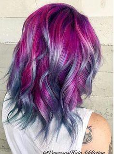 Magenta and lilac hair
