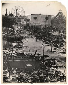 Steeplechase Amusement Park Fire, Coney Island  1939.  This was once the coolest, most popular ride in the whole park.  It has never since been duplicated.