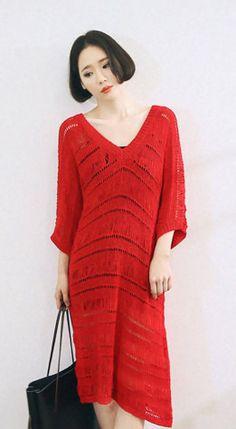 Fashiontroy Smart elegant 3/4 sleeves V-neck black red green see-through/sheer midi knitted dress