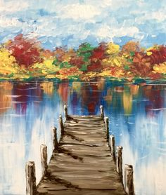 restaurant night Join us for a Paint Nite event Mon Sep 2018 at 411 Hackensack Avenue Hackensack, NJ. Purchase your tickets online to reserve a fun night out! Easy Canvas Painting, Autumn Painting, Autumn Art, Diy Painting, Painting & Drawing, Canvas Art, Acrylic Painting Tutorials, Landscape Art, Landscape Paintings