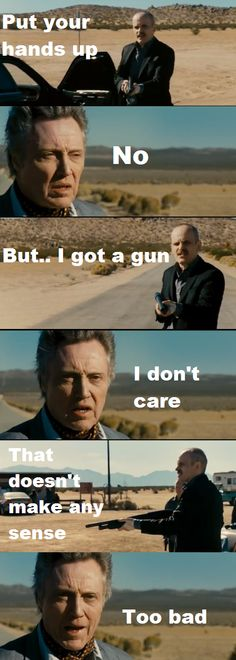 "Just say no to violence. Also, Christopher Walken is eternally badass! Zeljko Ivanek and Christopher Walken in ""Seven Psychopaths"""