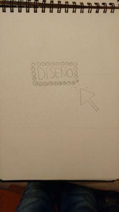Otro boceto de idea para el diseño, en este caso puse un puntero de ordenador y los logos al rededor de la palabra diseño.