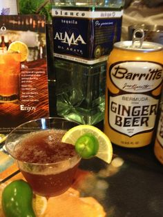 """El Diablo"" RECIPE: 2 oz. Alma de Agave tequila reposado 1 oz. Creme de Cassis Liqueur 1 oz. fresh lime juice Barritts Ginger Beer Garnish with lime and slice of jalapeño."