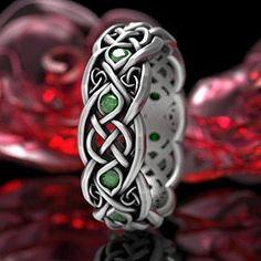 Irish Wedding Rings, Celtic Wedding Bands, Emerald Wedding Rings, Celtic Knot Ring, Celtic Rings, Fort Collins, Custom Jewelry Design, Unique Jewelry, Pagan Jewelry
