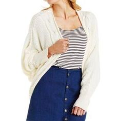 ▫️ Oversized Cocoon ▫️ Cable-trim off-white cocoon cardigan sweater, only worn once Charlotte Russe Tops