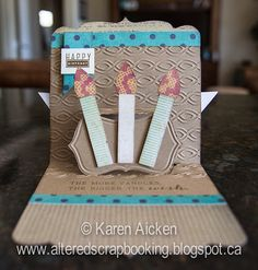 Karen Aicken using the Square Pop 'n Cuts Base, the Sassy Label Insert and the Sassy Label Embossing Folder. - Altered Scrapbooking: Kraft Birthday Card