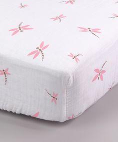 Pink Dragonfly Organic Muslin Crib Sheet $19.99
