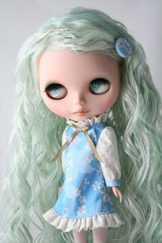 SALE   Custom Blythe outfit Gold Blue sakura dress by Painful Choice