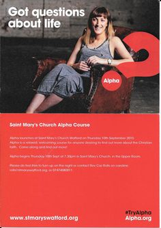 St Mary's Church Watford Alpha Course September 10th 2015 7.30pm 01923-225189.