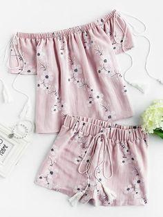 84580c4acaacb Tasseled Tie Blossom Bardot Top And Shorts Set Cute Shorts