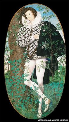 Portrait miniature of A Young Man Leaning Against a Tree Amongst Roses, possibly Robert Deveraux, 2nd Earl of Essex (1566-1601), by Nicholas Hilliard, 1585-95, © Victoria and Albert Museum, London