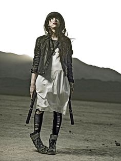 Post apocalyptic fashion trends.....I am loving this deconstructed tough chick craziness!!!