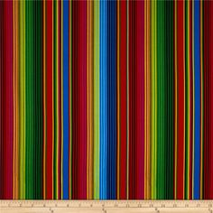 Timeless Treasures Cantina Stripe Red from @fabricdotcom  Designed by George McCartney for Timeless Treasures, this fabric is perfect for quilting, apparel and home décor accents.  Colors include pink, yellow, blue, black and red on a black background.