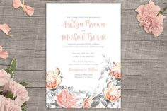 Rosa Romance FREE printable wedding invitation from www.onefabday.com