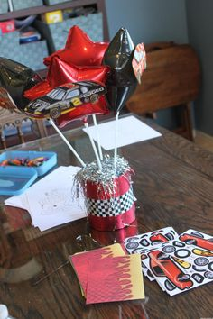 Red & Black Race Car Birthday Centerpiece Birthday Event Ideas, Birthday Parties, Race Car Birthday, Birthday Centerpieces, Red Black, Race Cars, Racing, Party, Kids