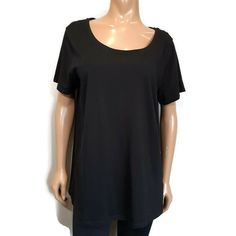 MyStyle Relaxed Fit Tee Tshirt Top Plus Size Womens 1X Solid Black Scoop Neck #MyStyle #Basic #Casual Shirt Dress, T Shirt, Solid Black, Underarm, Scoop Neck, Blouses, Plus Size, My Style, Tees