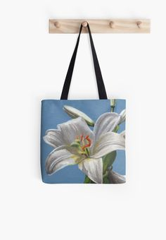 """""""White lily flower"""" Tote Bag by Savousepate on Redbubble #totebag #bag #painting #lilyflower #white #blue"""