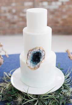 Geo-chic, minimalist wedding cake, colorful crystals, rock candy, geode // True Grace Photography