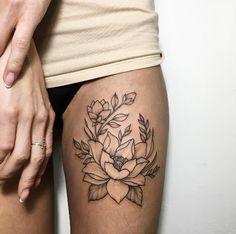 Black ink floral thigh piece by Ira Shmarinova