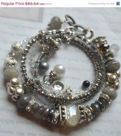 artisan bracelet, labradorite bracelet, moonstone bracelet, pearl bracelet