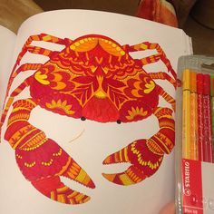 #crab #red #yellow #orange #tropicalwonderland #milliemarotta #colouringbook #calming