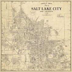 Salt Lake City Map, Vintage World Maps, Travel, Art, Maps, Art Background, Viajes, Kunst, Destinations